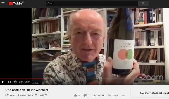 Oz Clarke tastes our wine live on YouTube